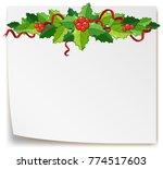 mistletoes on blank paper... | Shutterstock .eps vector #774517603