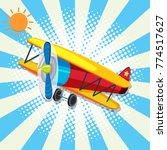 red plane flying on bright sky... | Shutterstock .eps vector #774517627