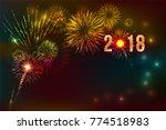 new year 2018  fireworks... | Shutterstock .eps vector #774518983