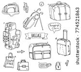 hand drawn doodle baggage icons ... | Shutterstock .eps vector #774521863