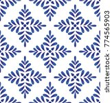 Stock vector ceramic blue leaves pattern seamless vector cute porcelain background design damask style 774565903