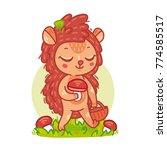 cute little cartoon hedgehog... | Shutterstock .eps vector #774585517