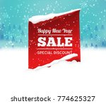 christmas sale background with... | Shutterstock .eps vector #774625327