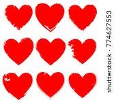 set of hearts . grunge stamps... | Shutterstock .eps vector #774627553