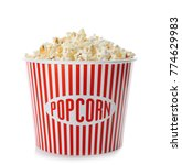 cup with popcorn on white...   Shutterstock . vector #774629983