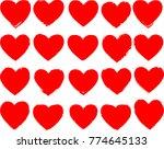 set of hearts . grunge stamps... | Shutterstock .eps vector #774645133