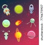space elements set. vector... | Shutterstock .eps vector #774675907