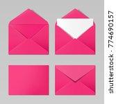 pink color realistic envelope... | Shutterstock .eps vector #774690157