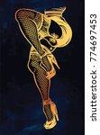 ornate dancing female legs in... | Shutterstock .eps vector #774697453