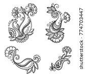set of mehndi flower pattern... | Shutterstock .eps vector #774703447
