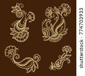 henna tattoo flower template in ... | Shutterstock .eps vector #774703933