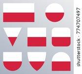 poland flag icon set. polish...   Shutterstock .eps vector #774707497