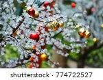 christmas balls. decorations on ... | Shutterstock . vector #774722527