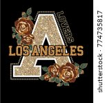 los angeles .rose embroidery... | Shutterstock .eps vector #774735817