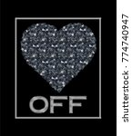 sequined heart graphic.black... | Shutterstock .eps vector #774740947