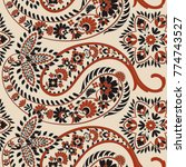 paisley floral oriental ethnic... | Shutterstock .eps vector #774743527