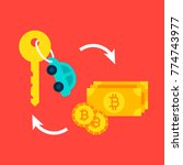 car bitcoin concept. vector...   Shutterstock .eps vector #774743977