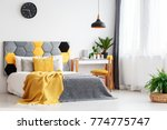black lamp above bed with...   Shutterstock . vector #774775747