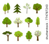 Collection of trees illustrations. Can be used to illustrate any nature or healthy lifestyle topic. | Shutterstock vector #774787243