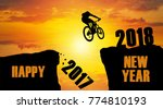 happy new year 2018 silhouette... | Shutterstock . vector #774810193