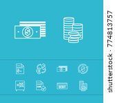 money payment icons set with...