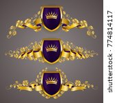 set of golden royal shields... | Shutterstock .eps vector #774814117