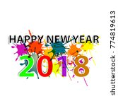happy new year 2018 colorfull... | Shutterstock .eps vector #774819613