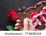 woman's hand holding a... | Shutterstock . vector #774858103