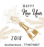 happy new year 2018  a bottle...   Shutterstock .eps vector #774874807