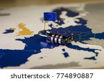 padlock over eu map ... | Shutterstock . vector #774890887