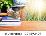 money saving in glass bottle...   Shutterstock . vector #774893407