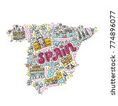 map of spain made in cartoon... | Shutterstock .eps vector #774896077