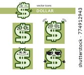 dollar sign with face  icon set ... | Shutterstock .eps vector #774912943