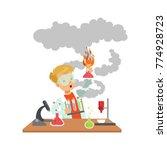 scientist boy looking dirty... | Shutterstock .eps vector #774928723