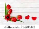 Beautiful Red Tulips And Two...