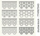 set of black seamless borders ...   Shutterstock .eps vector #774987043