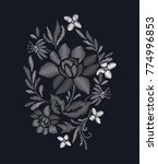 embroidery for fashion   Shutterstock .eps vector #774996853
