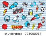 pop art boyl's  patches on...   Shutterstock .eps vector #775000087