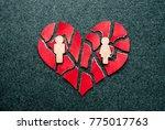 paper red broken heart with... | Shutterstock . vector #775017763