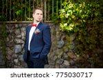 groom at wedding tuxedo smiling ... | Shutterstock . vector #775030717