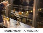 men lightning the hanukkah... | Shutterstock . vector #775037827