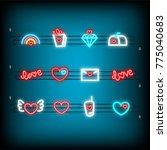 rainbow  gift box  diamond neon ... | Shutterstock .eps vector #775040683