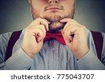 crop chubby man in bow tie... | Shutterstock . vector #775043707