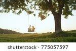 lens flare silhouette  setting... | Shutterstock . vector #775057597