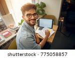portrait of happy motivated...   Shutterstock . vector #775058857