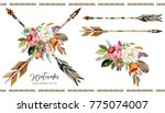 watercolor boho floral... | Shutterstock . vector #775074007