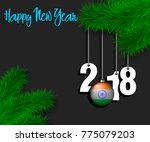 happy new year numbers 2018 and ... | Shutterstock .eps vector #775079203