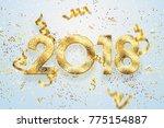2018 happy new year. gold... | Shutterstock . vector #775154887