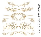 set of hand drawn floral... | Shutterstock .eps vector #775157443