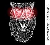 head of roaring wolf or... | Shutterstock .eps vector #775158343